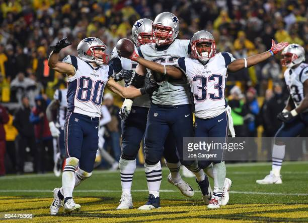 Dion Lewis of the New England Patriots celebrates after an 8 yard touchdown run in the fourth quarter during the game against the Pittsburgh Steelers...