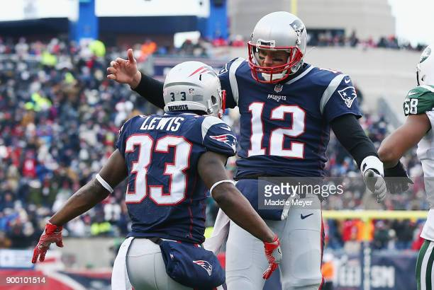 Dion Lewis of the New England Patriots celebrates with Tom Brady after scoring a 5yard receiving touchdown during the second quarter against the New...