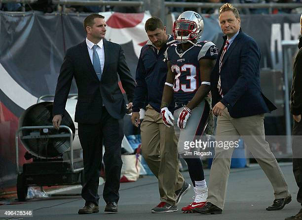 Dion Lewis of the New England Patriots leaves the field after an injury during a game with the Washington Redskins in the second half at Gillette...