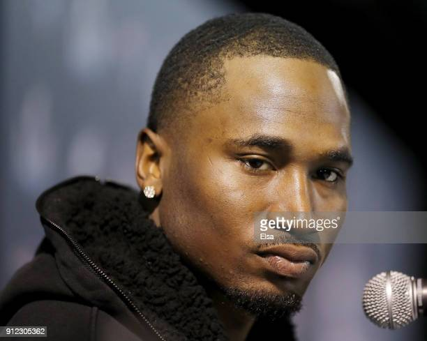 Dion Lewis of the New England Patriots speaks with the press during the New England Patriots Media Availability during Super Bowl LII week at the...