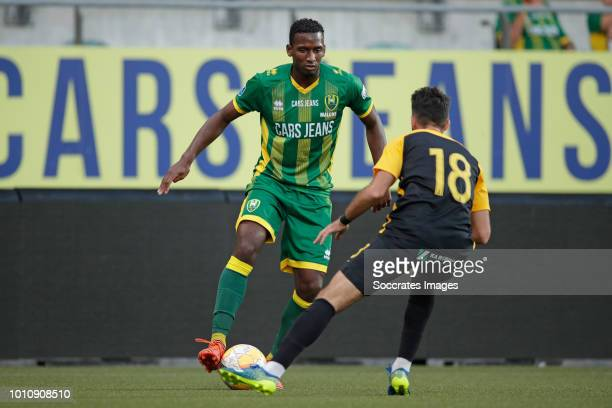 Dion Malone of ADO Den Haag Alex Menendez of Aris Thessaloniki during the Club Friendly match between ADO Den Haag v Aris Saloniki at the Cars Jeans...