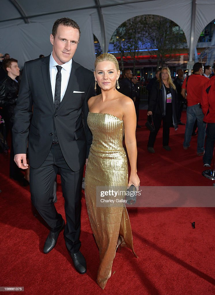 Dion Phaneuf and Elisha Cuthbert at Fiat's Into The Green during the 40th American Music Awards held at Nokia Theatre L.A. Live on November 18, 2012 in Los Angeles, California.
