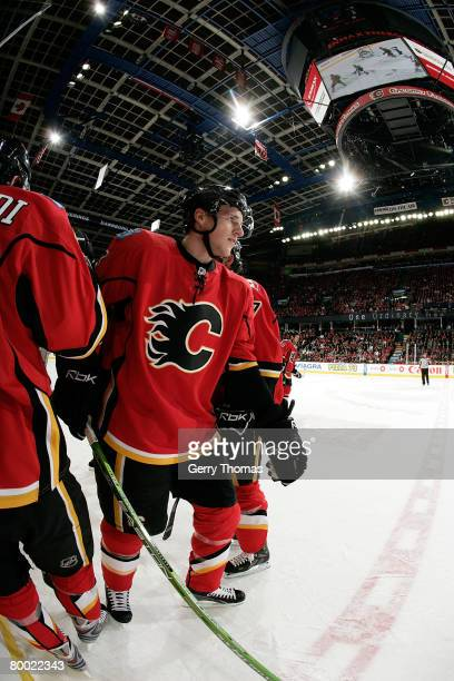 Dion Phaneuf of the Calgary Flames skates against the Colorado Avalanche at Pengrowth Saddledome February 26 2008 in Calgary Alberta Canada