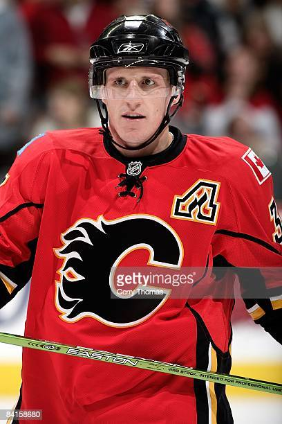 Dion Phaneuf of the Calgary Flames skates against the Minnesota Wild on December 29, 2008 at Pengrowth Saddledome in Calgary, Alberta, Canada. The...