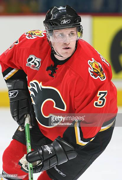 Dion Phaneuf of the Calgary Flames skates against the Ottawa Senators during the NHL game at Pengrowth Saddledome on December 10 2005 in Calgary...