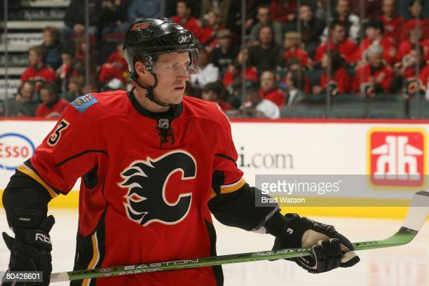 Dion Phaneuf of the Calgary Flames skates against the Vancouver Canucks on March 25 2008 at Pengrowth Saddledome in Calgary Alberta Canada The Flames...