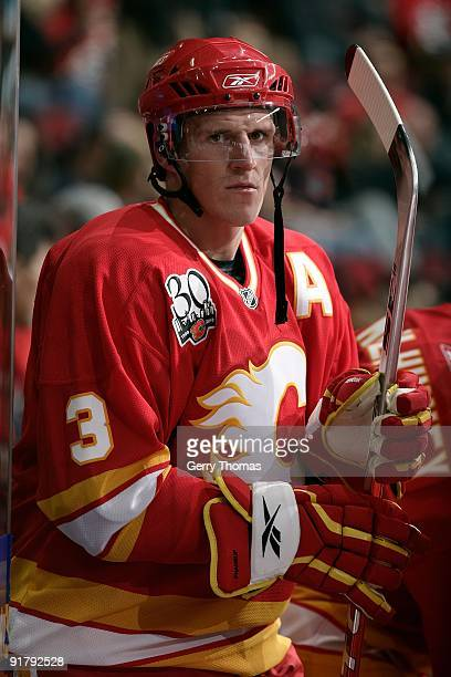 Dion Phaneuf of the Calgary Flames skates against the Vancouver Canucks on October 1 2009 at Pengrowth Saddledome in Calgary Alberta Canada The...