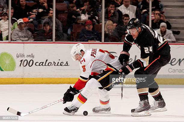 Dion Phaneuf of the Calgary Flames tries to gain control of the puck against Evgeny Artyukhin of the Anaheim Ducks during the game on January 17 2010...