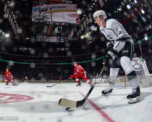 Dion Phaneuf of the Los Angeles Kings controls the puck against the Detroit Red Wings during an NHL game at Little Caesars Arena on December 10 2018...