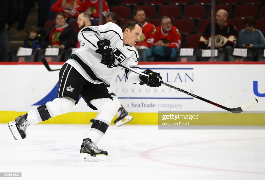 Dion Phaneuf #3 of the Los Angeles Kings skates during warm-ups before a game against the Chicago Blackhawks at the United Center on February 19, 2018 in Chicago, Illinois.