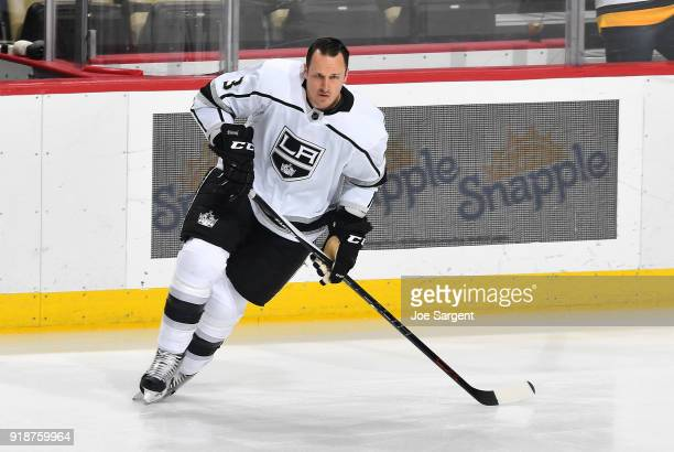 Dion Phaneuf of the Los Angeles Kings warms up prior to the game abasing the Pittsburgh Penguins at PPG Paints Arena on February 15 2018 in...