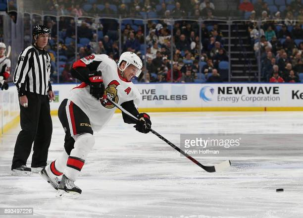 Dion Phaneuf of the Ottawa Senators during the game against the Buffalo Sabres at the KeyBank Center on December 12 2017 in Buffalo New York