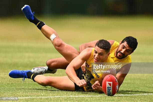 Dion Prestia of the Tigers handballs whilst being tackled by Marlion Pickett of the Tigers during a Richmond Tigers AFL training session at Metricon...