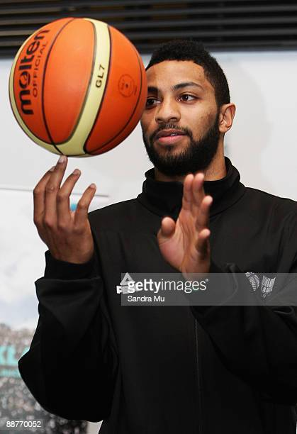 Dion Prewster of New Zealand spins the ball during the FIBA U19 World Championship captains photocall outside the Maritime Museum on July 1, 2009 in...