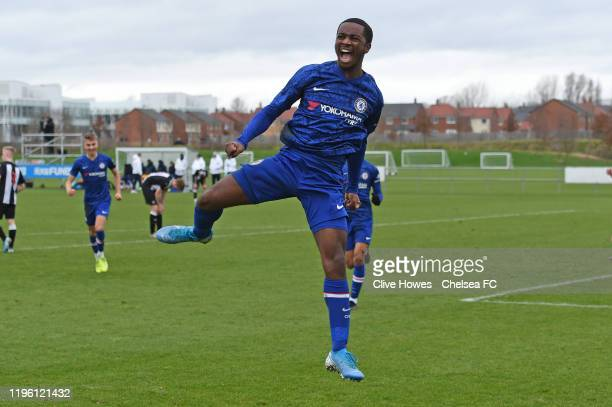 Dion Rankine of Chelsea celebrates scoring the second goal during the U18 Premier League Cup match between Newcastle United U18s and Chelsea FC U18s...