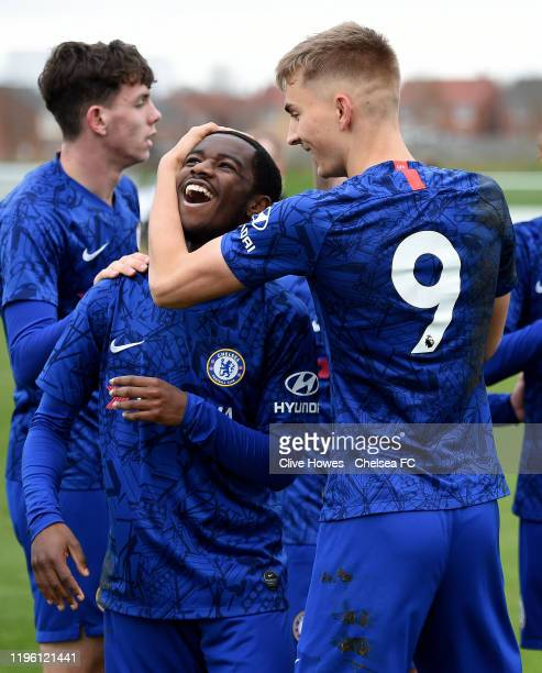 Dion Rankine of Chelsea celebrates scoring the second goal with George Nunn during the U18 Premier League Cup match between Newcastle United U18s and...