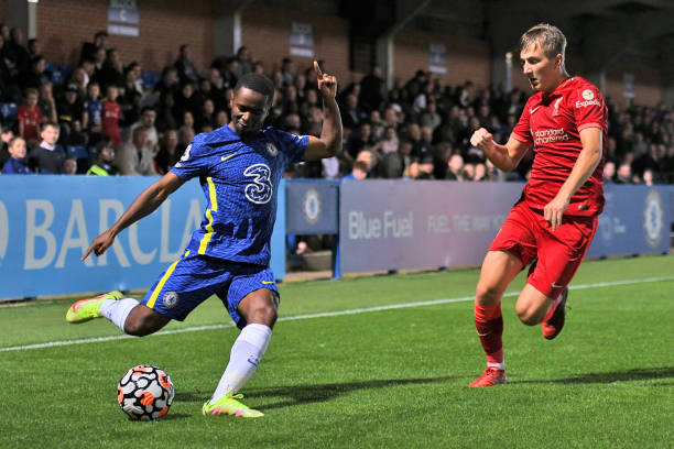 Dion Rankine of Chelsea crosses the ball during the Premier League 2 match between Chelsea and Liverpool on September 24, 2021 in Kingston upon...