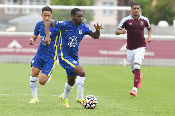Dion Rankine of Chelsea rins down the wing during the West Ham United v Chelsea Premier League 2 match at Rush Green on August 29, 2021 in Romford,...