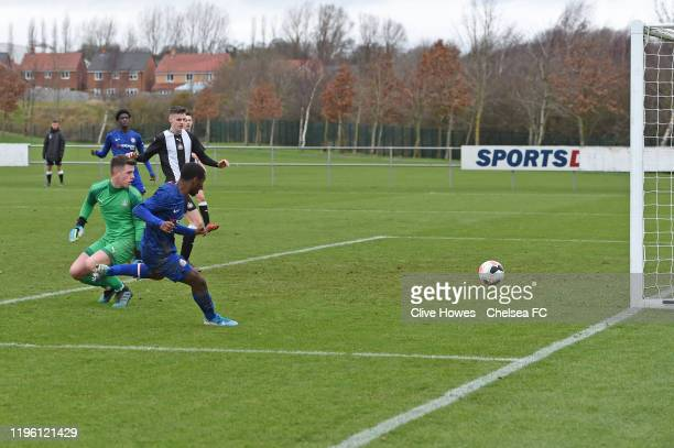 Dion Rankine of Chelsea scores the second goal during the U18 Premier League Cup match between Newcastle United U18s and Chelsea FC U18s on January...