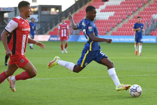 Dion Rankine of Chelsea with the ball during the Exeter City v Chelsea U21 Leasing.Com Trophy match at St James Park on August 24, 2021 in Exeter,...