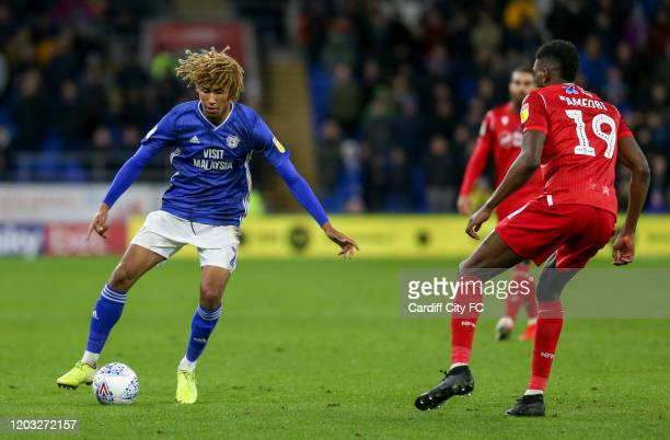 Dion Sanderson of Cardiff City FC and Sammy Ameobi of Nottingham Forest during the Sky Bet Championship match between Cardiff City and Nottingham...