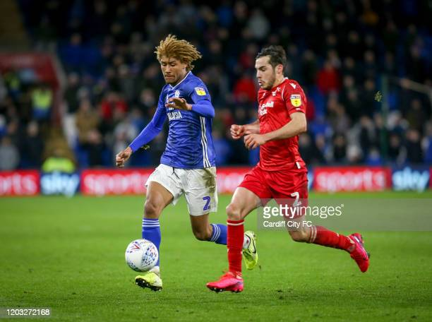 Dion Sanderson of Cardiff City FC and Yuri Ribeiro of Nottingham Forest during the Sky Bet Championship match between Cardiff City and Nottingham...