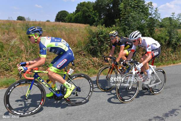 Dion Smith of New Zealand and Team Wanty Groupe Gobert / Michael Gogl of Austria and Team Trek Segafredo / Sylvain Chavanel of France and Team Direct...