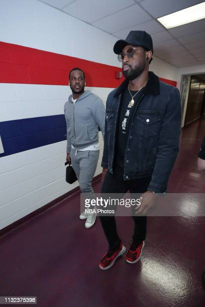 Dion Waiters and Dwyane Wade of the Miami Heat arrive to the arena prior to the game against the Washington Wizards on March 23 2019 at Capital One...