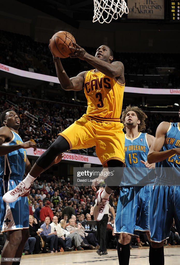 Dion Waiters #3 of the Cleveland Cavaliers goes up for the shot against the New Orleans Hornets at The Quicken Loans Arena on February 20, 2013 in Cleveland, Ohio.