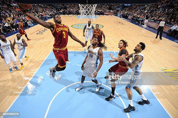 Dion Waiters of the Cleveland Cavaliers going up for a dunk during a game against the Denver Nuggets on January 17 2014 at the Pepsi Center in Denver...