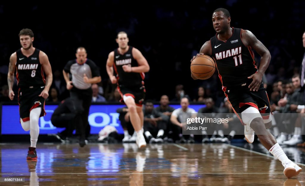 Dion Waiters #11 of the Miami Heat drives to the basket in the second half against the Brooklyn Nets during their Pre Season game at Barclays Center on October 5, 2017 in the Brooklyn Borough of New York City.