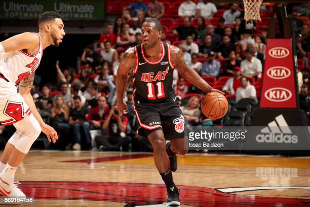 Dion Waiters of the Miami Heat handles the ball against the Chicago Bulls on November 1 2017 at American Airlines Arena in Miami Florida NOTE TO USER...