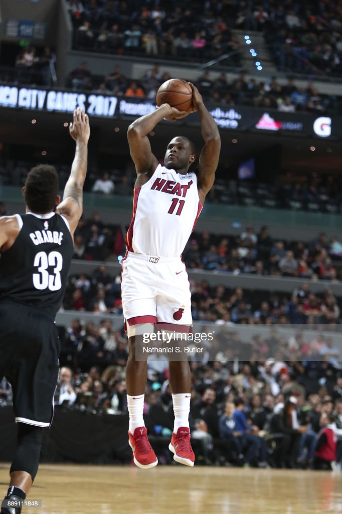 Dion Waiters #11 of the Miami Heat shoots the ball against the Brooklyn Nets as part of the NBA Mexico Games 2017 on December 9, 2017 at the Arena Ciudad de México in Mexico City, Mexico.