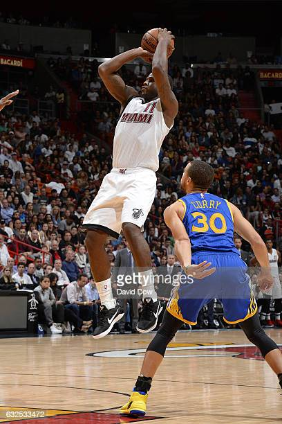 Dion Waiters of the Miami Heat shoots the ball against the Golden State Warriors on January 23 2017 at American Airlines Arena in Miami Florida NOTE...