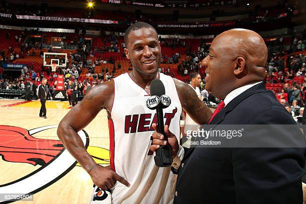 Dion Waiters of the Miami Heat talks with Fox Sports reporters after the game against the Detroit Pistons on January 28 2017 at AmericanAirlines...