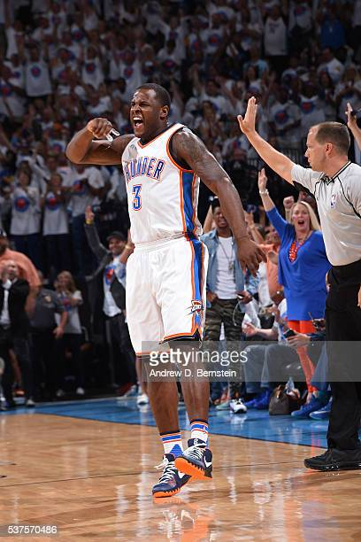 Dion Waiters of the Oklahoma City Thunder celebrates a shot in Game Four of the Western Conference Finals against the Golden State Warriors during...