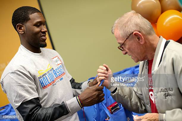 Dion Waiters of the Oklahoma City Thunder hosts a Thanksgiving dinner giveaway at Regional Food Bank of Oklahoma presented by Homeland on November 24...