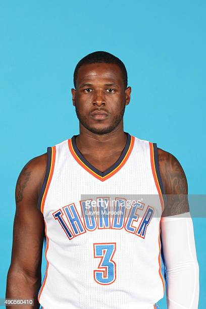 Dion Waiters of the Oklahoma City Thunder poses for a portrait during 2015 NBA Media Day on September 28 2015 at the Thunder Events Center in Edmond...