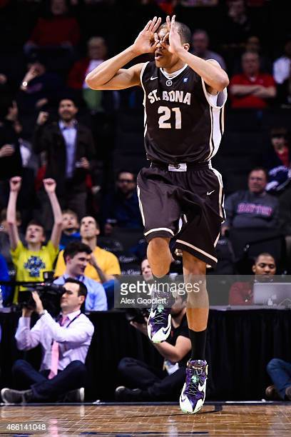 Dion Wright of the St. Bonaventure Bonnies celebrates a basket during a quarterfinal game against the Dayton Flyers in the 2015 Men's Atlantic 10...
