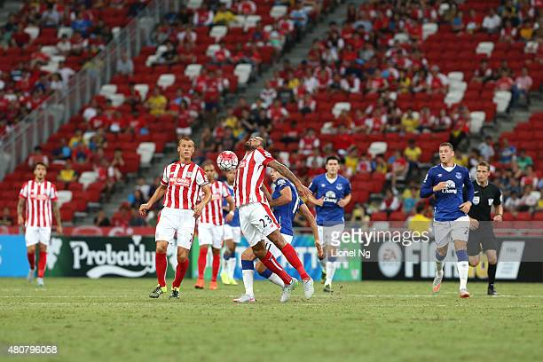 Dionatan Teixeira of Stoke City chests the ball during the Barclays Asia Trophy match between Everton and Stoke City at National Stadium on July 15...