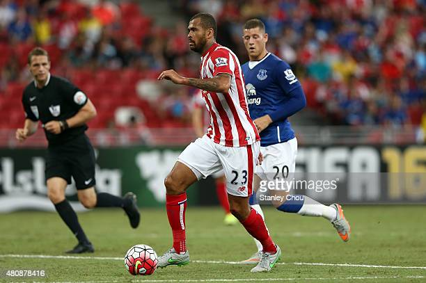 Dionatan Teixeira of Stoke City controls the ball during the Barclays Asia Trophy match between Everton and Stoke City at National Stadium on July 15...