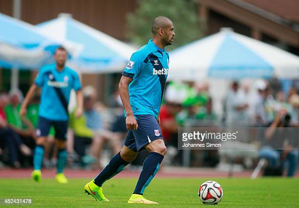 Dionatan Teixeira of Stoke City in action during the preseason friendly match between Borussia Moenchengladbach and Stoke City July 20 2014 in...