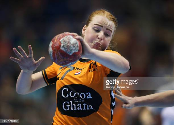 Dione Housheer of The Netherlands runs with the ball during the women's international friendly match between Germany and The Netherlands at Getec...