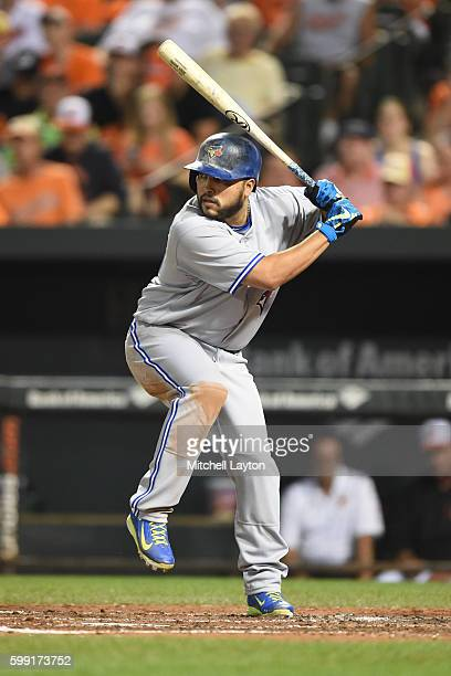 Dioner Navaro of the Toronto Blue Jays prepares for a pitch during a baseball game against the Baltimore Orioles at Oriole Park at Camden Yards on...