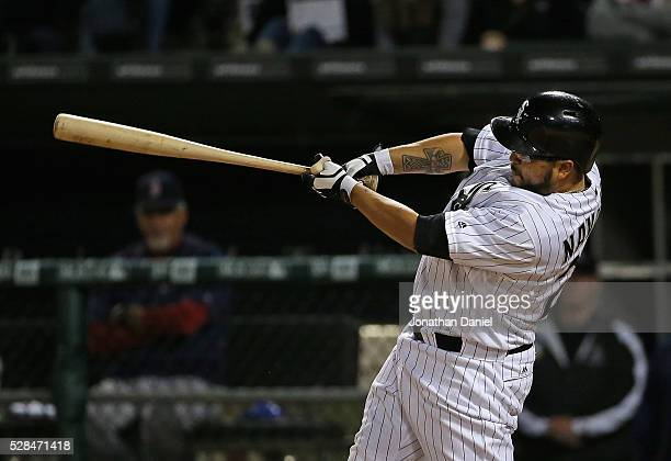 Dioner Navarro of the Chicago White Sox bats against the Boston Red Sox at US Cellular Field on May 3 2016 in Chicago Illinois The White Sox defeated...