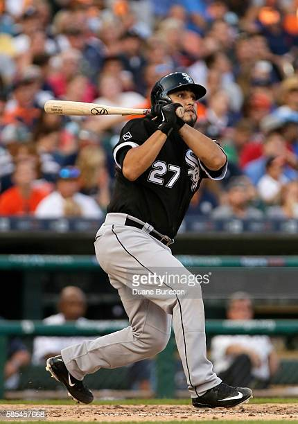 Dioner Navarro of the Chicago White Sox hits a RBIsingle against the Detroit Tigers during the fourth inning at Comerica Park on August 2 2016 in...
