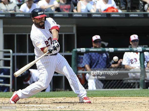 Dioner Navarro of the Chicago White Sox hits a twoRBI homer against the New York Yankees during the fifth inning on July 4 2016 at U S Cellular Field...