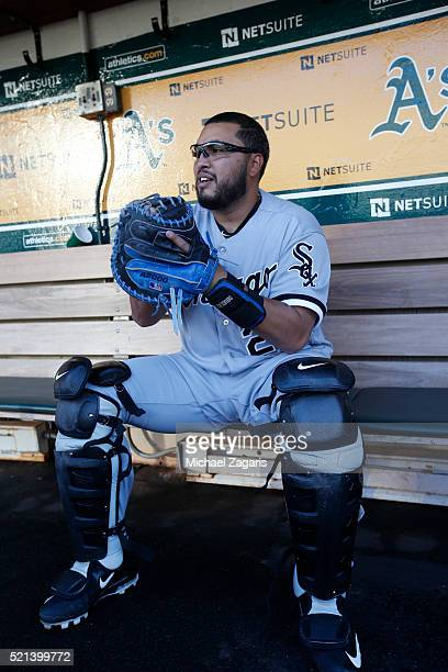 Dioner Navarro of the Chicago White Sox sits in the dugout prior to the game against the Oakland Athletics at Oakland Coliseum on April 4 2016 in...