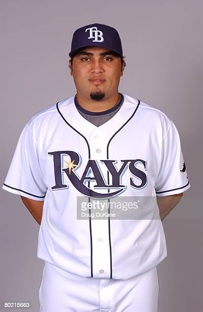 Dioner Navarro of the Tampa Bay Rays poses for a portrait during photo day at Progress Energy Park on February 22 2008 in St Petersburg Florida