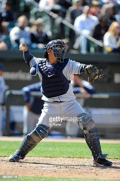 Dioner Navarro of the Tampa Bay Rays throws the ball to second base against the Baltimore Orioles at Camden Yards on April 12, 2009 in Baltimore,...